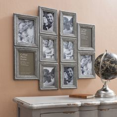 Attractive Collage Picture Frames Make The Contents Of Your Home Design Is Beautiful And Very Interesting: Very Cozy Collage Picture Frames With Photos With Your Beloved Family And Wooden Unique Table For Middle Room Ideas Designs