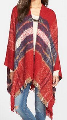 Red plaid poncho