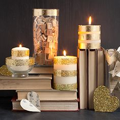 Add a little sparkle and glam to your plain white candles and cylinder vases with gold leaf foil and glitter.