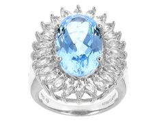 7.92ct Oval Brazilian Glacier Topaz(Tm) With 2.21ctw Marquise White Topaz Sterling Silver Ring