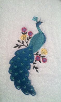 PEACOCK EMBROIDERED SET 2 BATHROOM HAND TOWELS