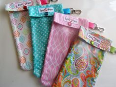 Epi Pen Cases 4 Pack Clear Pocket Pouch w/ Clip by OuchPouchShoppe