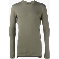 HELMUT LANG Ribbed Long Sleeved T-Shirt (€165) ❤ liked on Polyvore featuring men's fashion, men's clothing, men's shirts, men's t-shirts, mens leather shirt, mens long sleeve leather shirt, mens ribbed t shirt, mens long sleeve shirts and mens long sleeve t shirts