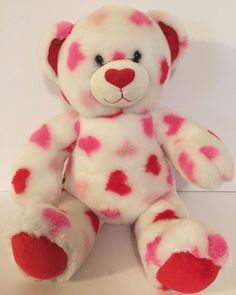 "Build-A-Bear Valentine's Plush Bear 15"" Stuffed Animal Heart White Red Pink Soft #ValentinesDay"