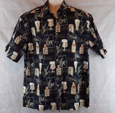 Men's Batik Bay 100% Cotton Hawaiian Caribbean Cocktail Beer Sport Shirt Size L…