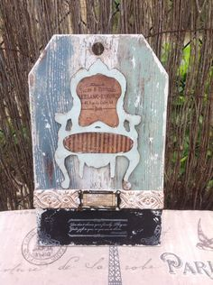 vintage wood tag with chair