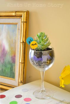 Wine glass succulent planter, mother's day gift, Could make for a great teacher appreciation gift too. Tutorial @ www.whatsurhomestory.com #lifeforless #PMedia  #ad @ALL YOU Magazine