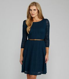 London Times Woman Belted Lace Dress $99.00