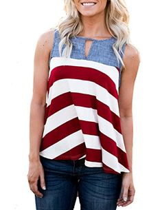 Special Offer: $17.99 amazon.com Does it get anymore Americana than chambray and stripes? We didn't think so either. This tank features bold stripes, cutout detail on the front and back, and a loose flattering fit. Size Information(inch) Noted:Please check your measurements to make...