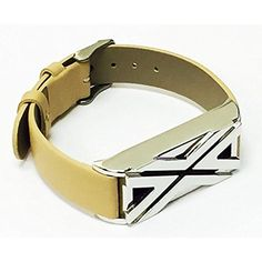 BSI Beige Leather Replacement Bracelet With Unique Style Silver Metal Housing For Fitbit Flex Smart Band >>> Click image for more details. (This is an affiliate link) #ClipsArmWristbands