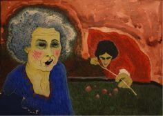 Bernardo CRESPIN : Sin titulo (Mujer y hombre jugando billar) ; fecha (probablemente 1984/85) : Colección MDAA (adquirido en Enero 2016)