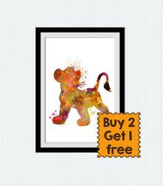Lion king watercolor print Simba watercolor print by ColorfulPrint