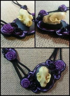 Bat skull and flowers soutache  necklace by Zen Creations Jewelry