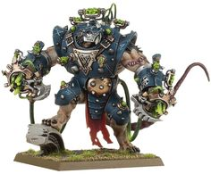 As mentioned yesterday, this plastic kit includes six weapon options, the most brutal of which are undoubtedly the shock gauntlets. Crammed full of warpstone rods, they deliver a shock that can fry even the toughest foe. Watch out for this Stormfiend's armour, too – it's covered in warpstone coils that discharge bolts of lightning.