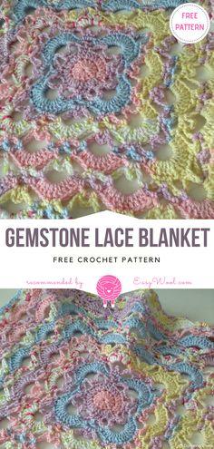Gemstone Lace Blanket Free Crochet Pattern   EASYWOOL
