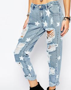 Image 3 ofGlamorous Jeans with Bleach Star Detail and Rips