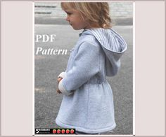 Olga Hoodie Girls Dress Pattern, SEWING PATTERNS for Children, Baby, Toddler, PDF, E Book, Tutorial