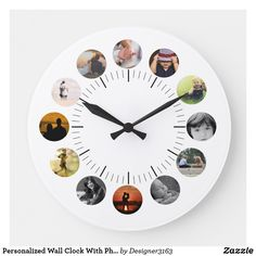 Custom personalized wall clock template with your photos. Make your own photo clock online by adding your own pictures. Great gift or present idea for Mom. Wall Clock Photo Frame, Photo Clock, Wall Clock Template, Personalized Clocks, Personalised Gifts, Family Clock, Large Wall Calendar, Large Family Photos, Large Clock