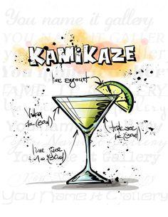 INSTANT DOWNLOAD-Kitchen Art-Kitchen Poster-Drinks-Alcohol-Shots-Shots-Classic…