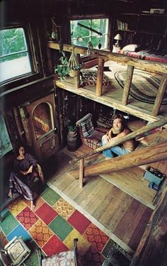 ugh hippies in a tiny log cabin. yes.