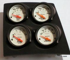 1968-1974 Nova Console Black Finish Quad Pod with Auto Meter Phantom Electric Gauges.