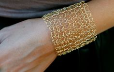 Wide Gold Cuff Bracelet Metallic Sexy Mesh Hand Knit Wire Simple Gold Lace Bracelet. $65.00, via Etsy.