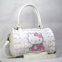 New Hellokitty Pu Leather Hand Shoulder Shopping Purse Bag Cylindrical