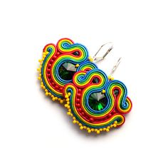 Rainbow soutache earrings fuschia red blue green yellow mexican boucles d'oreilles piendientes orecchini bijoux african wax print beaded