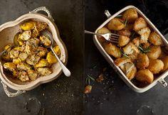 Mum's Amazing Roast Potatoes.  Baby Yellow Squash with Chilli, Red Onion and Garlic Pangrattato