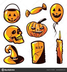 Ilustraciones, vectores alusivos a la fiesta de halloween. #vector #ilustracion #dibujo #halloween #craneo #calavera #calabaza #dulces #travesuras #globos #sombrero #bruja #lapida #tumba #muerto #muerte #vela #cirio #pagano #fiesta #niños #miedo #mal #maldad #demonio #susto #naranjo #negro #otoño #diversion #balde #caramelos