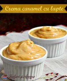 Crema fiarta de caramel cu lapte. O varianta la fel de simpla cremei clasice de patiserie. Reteta rapida. Crema pentru prajituri si torturi.