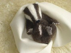 Needle Felted Baby Badger by Tamara111,