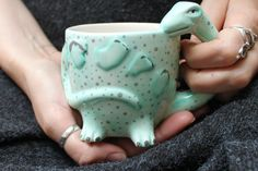 Turquoise Diplodocus Dinosaur Shaped Mug by House of `Disaster. A shaped dinosaur mug in turquoise with spots. The long diplodocus neck forms the Dinosaur Mug, Pattern Matching, Matching Gifts, Morning Coffee, Some Fun, Desk Space, Bright, Shapes, Turquoise