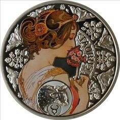 Taurus silver coin, with the art of Alfons Mucha