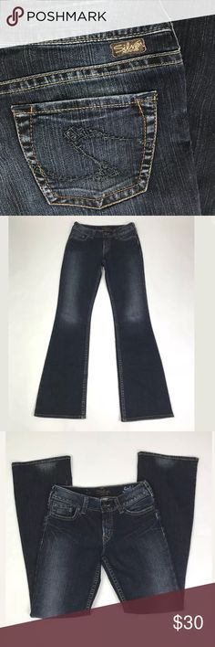 """Silver Suki Bootcut Jeans Dark Wash 28/34 Dark wash, Boot Cut. Good used condition. Measurements: Waist: 28"""". Length: 34"""". Rise: 8 1/2"""". Cuff: 9 1/2"""". Silver Jeans Jeans Boot Cut"""