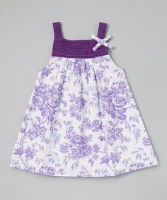 Purple Floral Pin Tuck Dress - Infant, Toddler & Girls