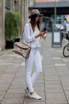 30 Ways to Wear White Jeans This Summer  #purewow #summer #style #outfit ideas #denim #fashion