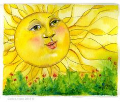 Watercolor painting, sun face, Original painting, Watercolor original, 8 x 10…