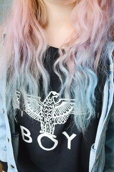 pink/purple hair  boy london shirt