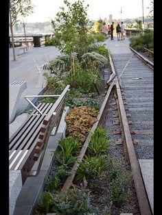 Utilizando la antigua linea de tren en NY un parque urbano.