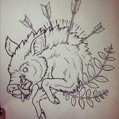 Arrows-In-Boar-Tattoo-Stencil.jpg (612×612)