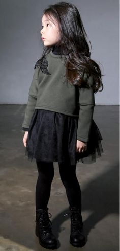 Black and army green super chic. - June 01 2019 at Little Girl Outfits, Toddler Girl Outfits, Little Girl Fashion, Toddler Girls, Cute Kids Fashion, Toddler Fashion, Look Fashion, Fall Fashion, Outfits Niños