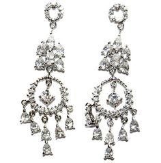 Ivisse Cluster Circle Chandelier Earrings | Cubic Zirconia | Silver