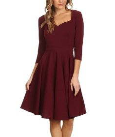 Loving this Burgundy Sweetheart A-Line Dress - Plus on #zulily! #zulilyfinds