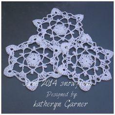 JUNE 2014 SNOWFLAKE   Designed by Katheryn Garner         Supplies: Aunt Lydia size 10 White with Metallic thread.   ...