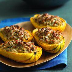 Nut-Stuffed Delicata Squash    Need a cold-weather vegetarian main dish? These stuffed squash satisfied even the most carnivorous Sunset staff members. Some kind of alchemy takes place with the onions, sage, and nuts to create a distinctly sausagelike flavor.