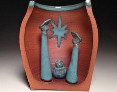 Nativity Set Pottery Creche Manger Scene by Potterybydaina on Etsy