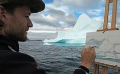"""Cory Trepanier painting a glacial formation. See the trailer for Trepanier's new film, """"Into the Arctic II"""" at http://www.outdoorpainter.com/video/into-the-arctic-ii.html"""