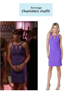 "On the blog: Charlotte's (Christa B. Allen) purple cutout coctail dress | Revenge - ""Control"" (Ep. 305) #tvstyle #tvfashion #outfits #fashion"