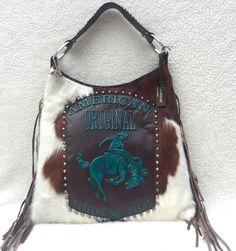 Raviani Western Brindle Leather Handbag Purse w/ Fringe - Bronc & Cowboy RODEO #Raviani #ShoulderBag